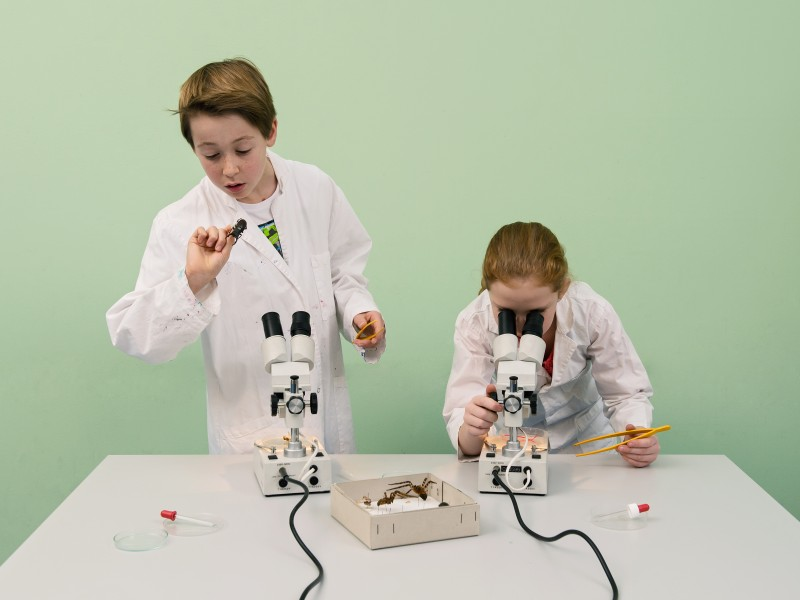 "A child in a lab coat deals with the various surfaces as part of the ""Bionic"" workshop. Another child is observing several things through a microscope."